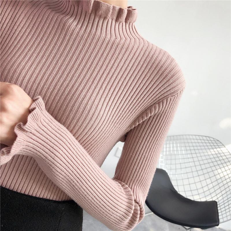 秋鼕季女裝百搭木耳邊加厚毛衣女套頭半高領針織修身打底衫女長袖