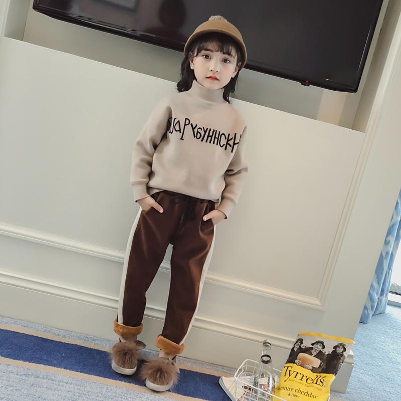 女童毛衣冬装毛线针织衫中领加绒打底衫童装2017冬季新款儿童毛衣