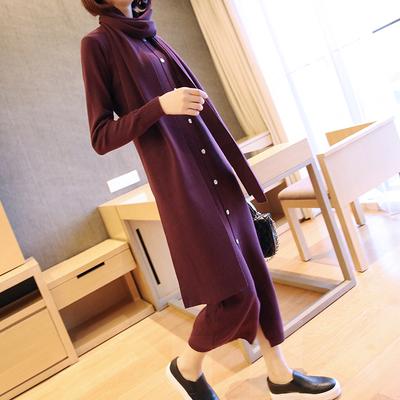 长袖针织连衣裙秋冬季长裙韩版修身显瘦中长款毛衣裙冬天打底裙子