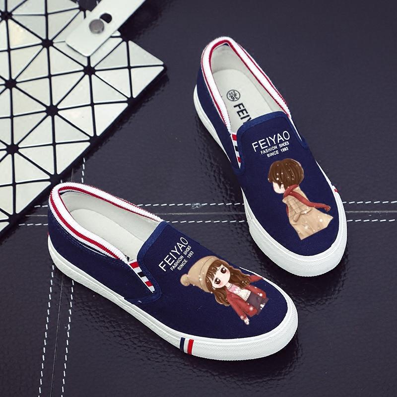 秋冬加绒女鞋涂鸦休闲鞋透气帆布鞋韩版低帮平跟女学生懒人一脚蹬