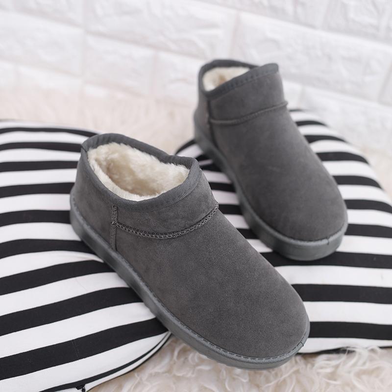 秋鼕加絨保暖套腳棉鞋女士包跟棉拖鞋厚底防滑外穿雪地靴反絨磨砂
