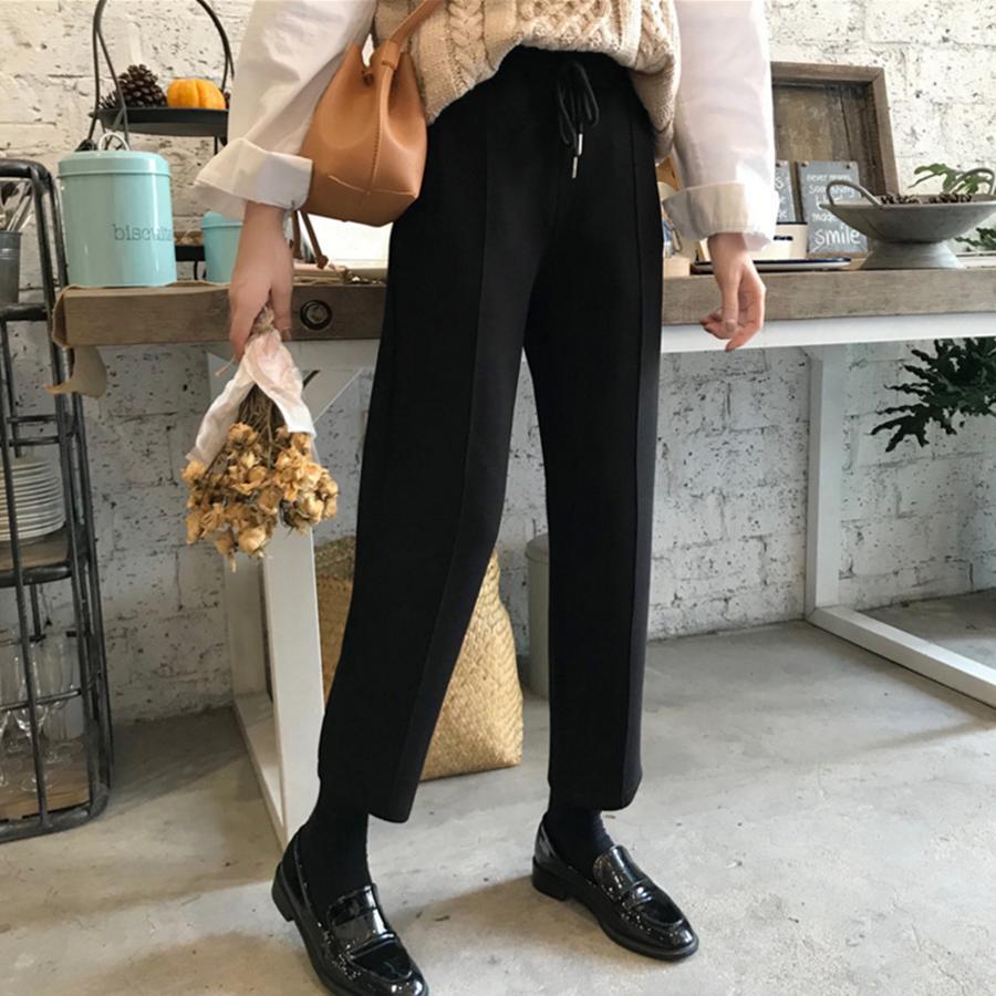 秋冬女装韩版宽松黑色复古九分直筒裤显瘦百搭系带松紧高腰休闲裤