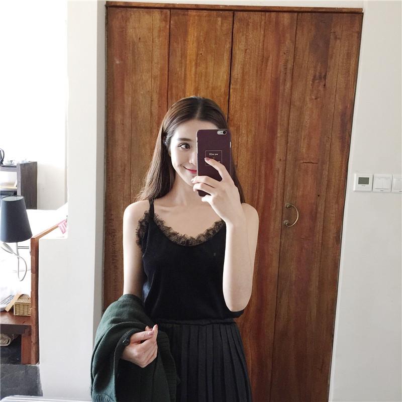实拍5521# 韩国chic 超级百搭的蕾丝拼接丝绒吊带小背心 万年款