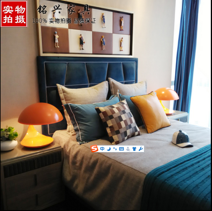 The large-sized apartment washable fabric bed double bed 1.51.8 meters simple modern master bedroom furniture