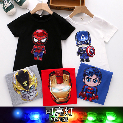 Boys pure cotton net red cartoon light flashing short-sleeved T-shirt 2020 summer thin T children's shirt boy top
