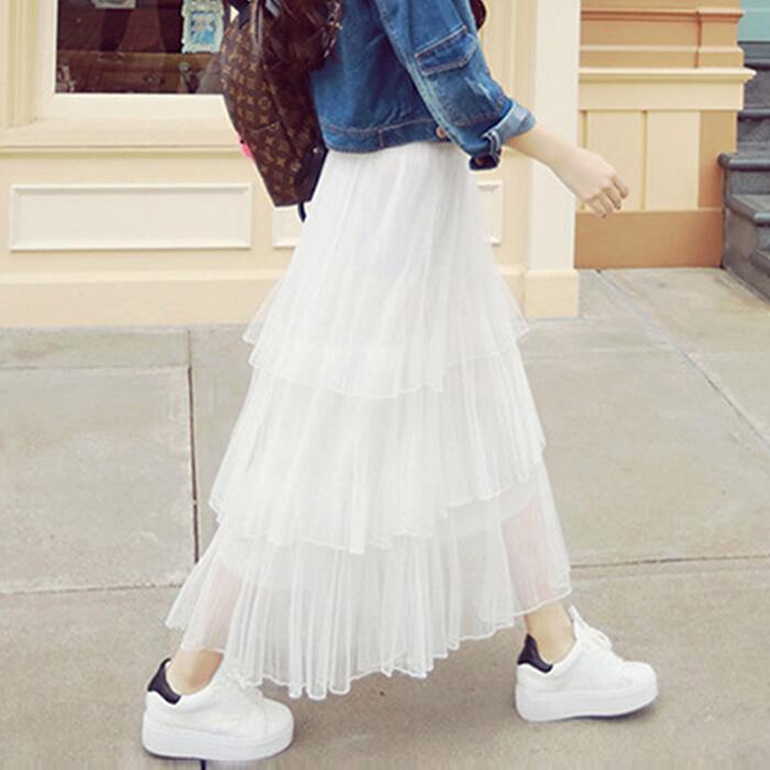 【天天特价】半身长裙百褶裙三层蛋糕裙公主网纱裙沙滩裙半裙宽松