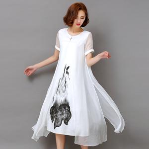 实拍【1150】新款2017复古真丝短袖拼接印花假两件套连衣裙