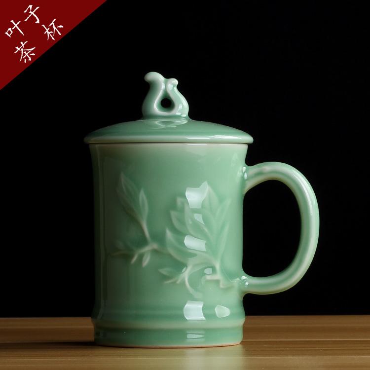 弟窯粉青龍泉青瓷 茶杯 帶把辦公水杯 耐熱創意陶瓷會議杯 杯子 情侶茶杯