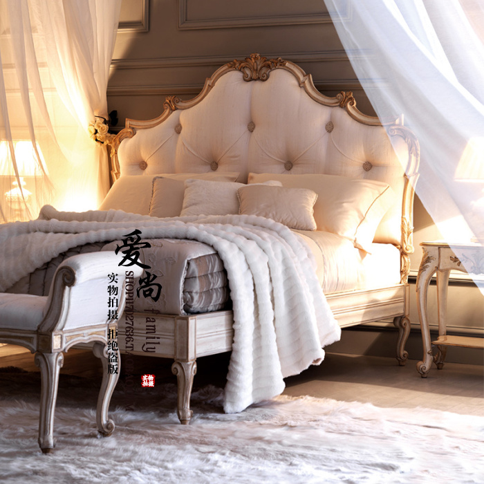French new classical all solid wood bed European style American country carved antique wooden double bed soft bed marriage bed