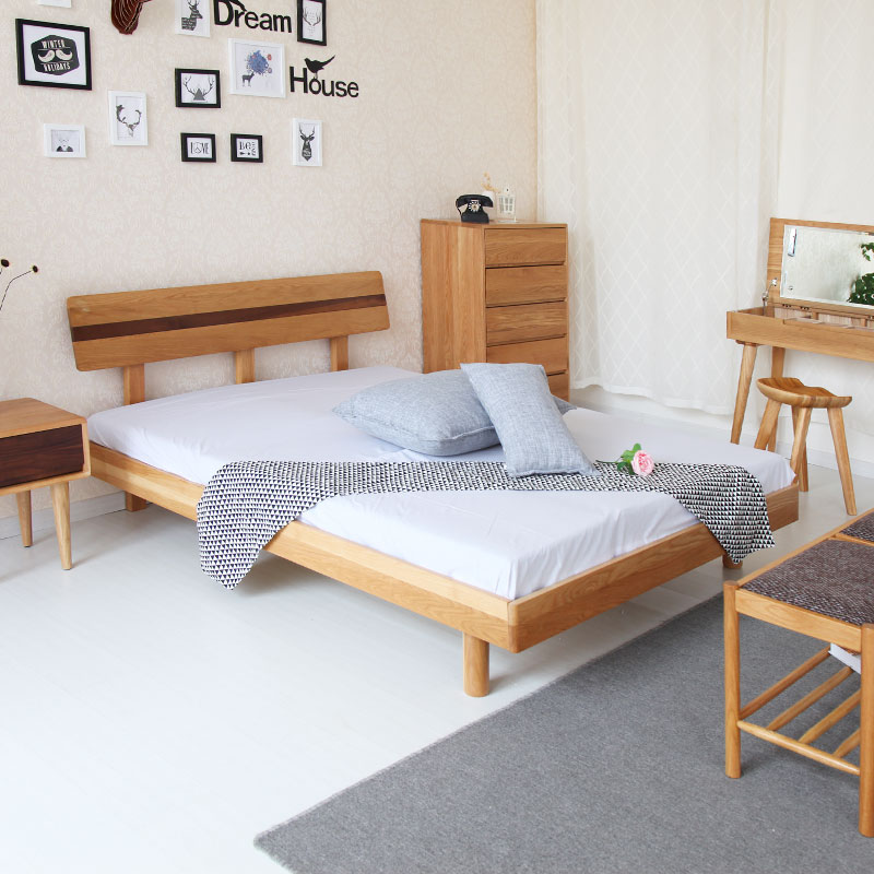 Nordic Japan white oak all solid wood bed 1.5/1.8 meters single double bed modern simple mail