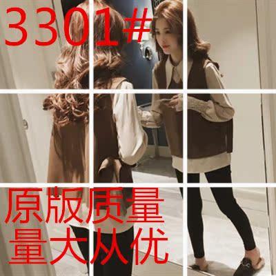 冬季新款韓版氣質喇叭袖襯衫女長袖寬松系帶蝴蝶結背心上衣兩件套