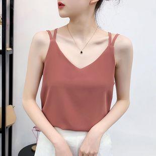 雪纺衫小吊带2020夏季新款韩版交叉美背无袖上衣V领内搭背心女