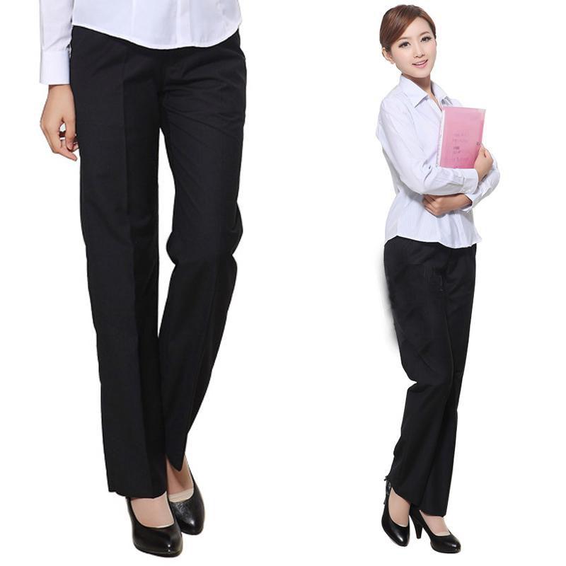 酒店服务员女工作裤带松紧黑色大码工作直筒裤休闲职业女西裤工装