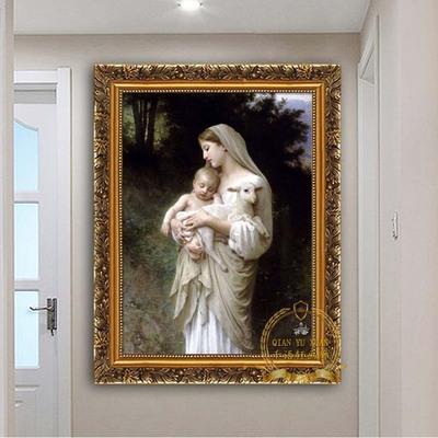 欧式人物装饰画天主教圣像玛利亚壁画十字架挂画天使圣母耶稣画像