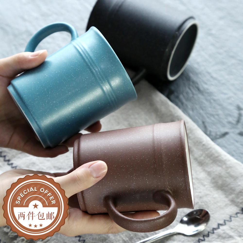 02-棕色梵格 創意個性北歐簡約陶瓷馬克杯 時尚啞光情侶杯水杯咖啡杯