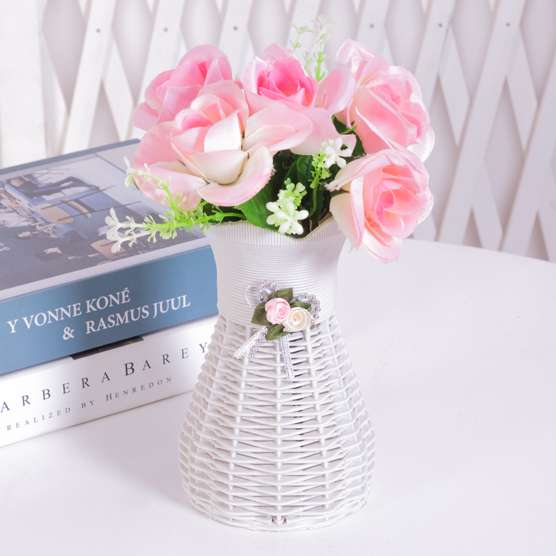 仿真玫瑰花+花瓶配饰小花篮【默认圆通】