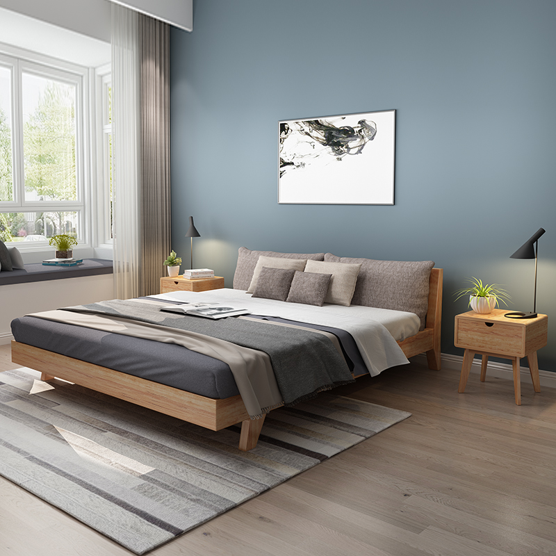 Solid wood bed 1.8 meters double bed, modern simple 1.5/1.8 meters oak, Nordic style big family, Japanese style 1.2