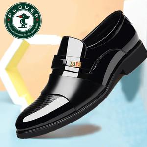 啄木鸟春秋男士商务正装皮鞋套脚黑色休闲真皮加绒男棉皮鞋