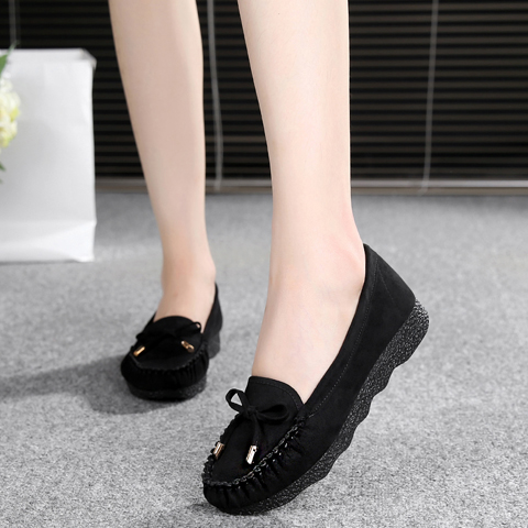 老北京布鞋女鞋豆豆鞋平底蝴蝶結單鞋百搭網鞋黑色工作鞋女休閑鞋