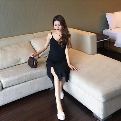 实拍现货8266~港味百搭显瘦侧开叉吊带裙小黑裙内搭打底连衣裙