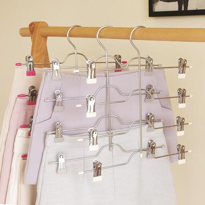 2个装桢美多层裙裤架裤夹裙夹收纳整理衣柜多功能衣架裤挂