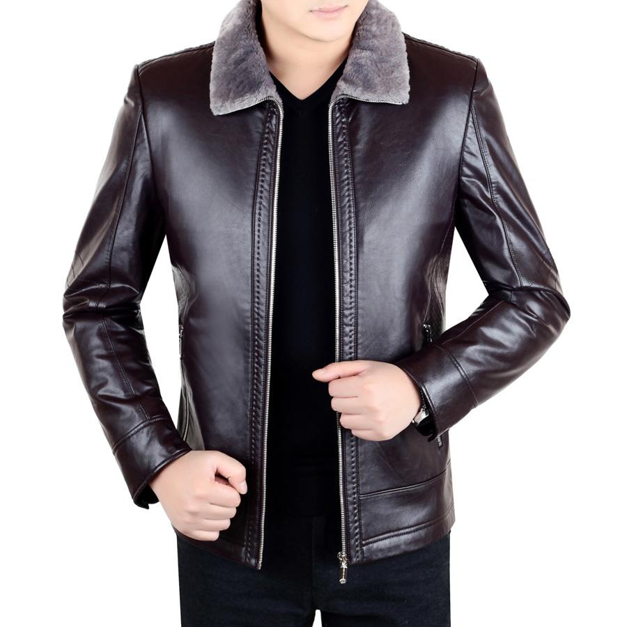冬季新款中年海宁男士真皮皮衣皮毛一体加绒休闲装绵羊皮夹克外套