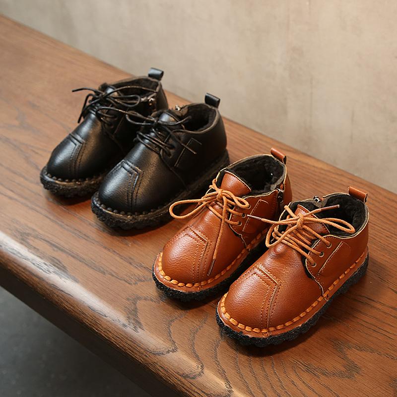 2017冬季新款儿童短靴拉链加绒保暖皮鞋软底宝宝鞋男童休闲棉鞋
