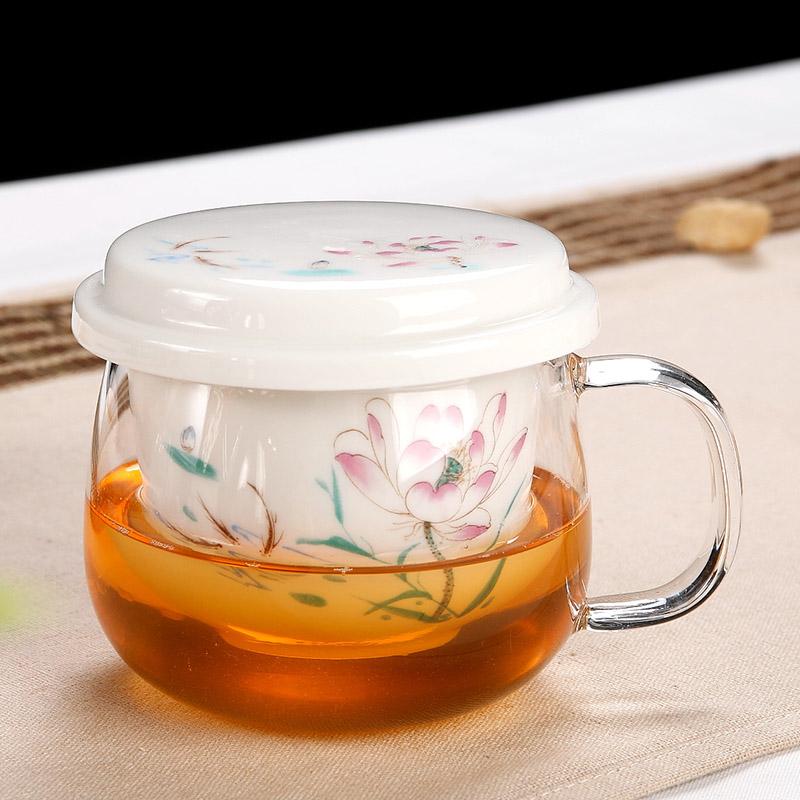 泡茶杯山水款天天特價耐熱玻璃杯子帶蓋青花陶瓷帶過濾茶水分離個人帶把泡茶杯