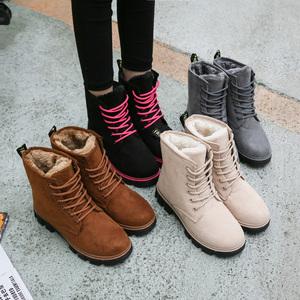 雪地靴女马丁短靴2018秋冬季天新款短筒平底棉鞋学生鞋女靴子棉靴