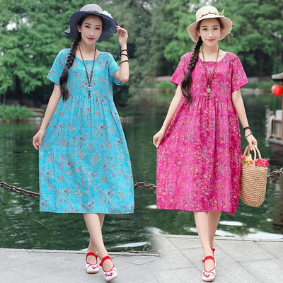 3278#实拍2019夏民族风文艺棉麻连衣裙短袖大码女装显瘦长裙