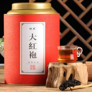 武夷山巖茶正巖蘭花香手工大紅袍茶葉節日送禮禮盒圓罐500克