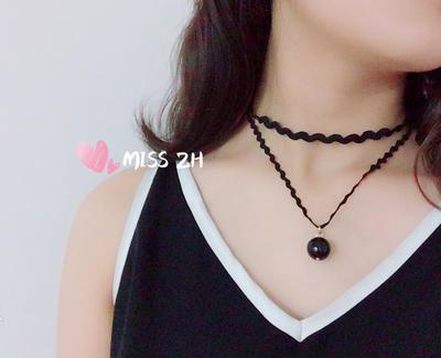 小气质系列-双层黑色蕾丝珍珠项链百搭项链颈链双层锁骨链-D002
