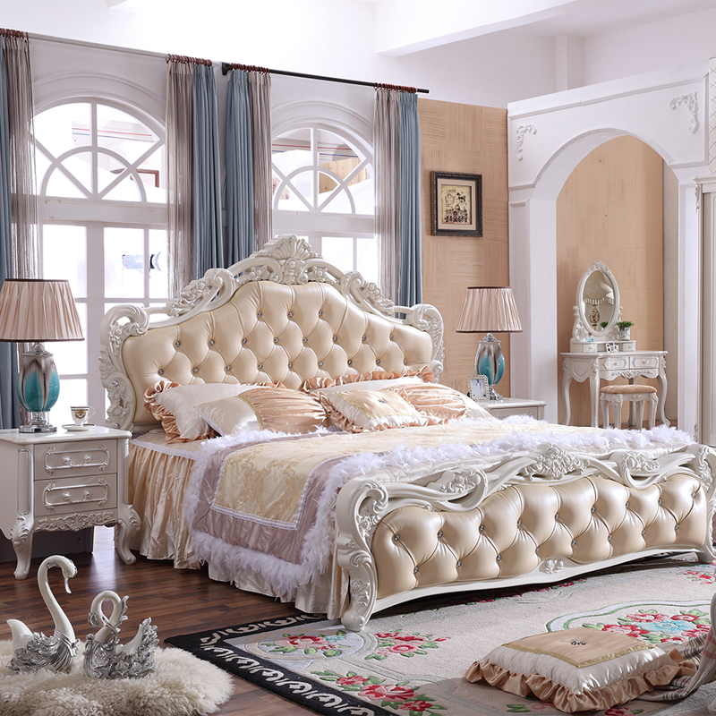 High box storage bed, 2 meters European style marriage room double bed, 1.5m single bedroom, simple garden, soft wood bed