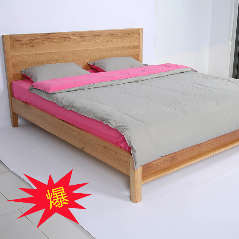Modern simple double children 1.51.8 meters imported pure oak oak bedroom economical furniture assembled solid wood bed