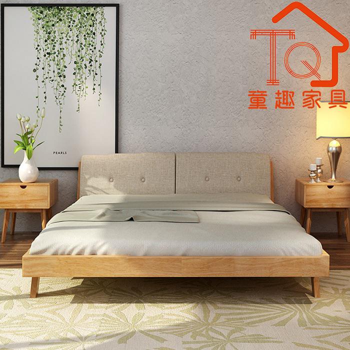 Nordic all solid wood beds, oak double 1.5M1.8 meters double bed, simple Japanese bedroom furniture