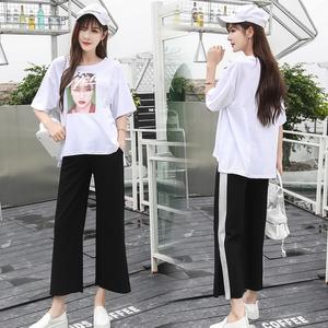 984#实拍#孕妇装新款夏季百搭显瘦哺乳套装外穿喂奶两件套韩版