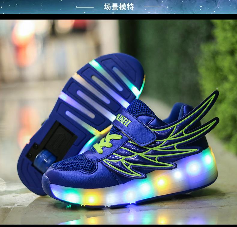 Principessa scarpe coreane Scarpe da corsa da donna Ruota sportiva Studentessa principessa Puleggia blu Scarpe Ragazza Bambino
