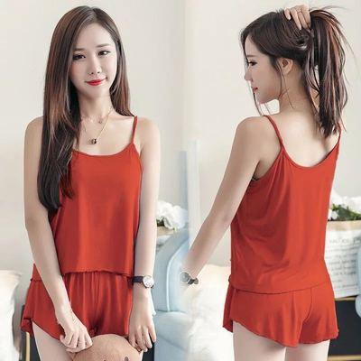 韩版爆款夏季纯色性感吊带短裤女薄款睡衣两件套装大码家居服网红