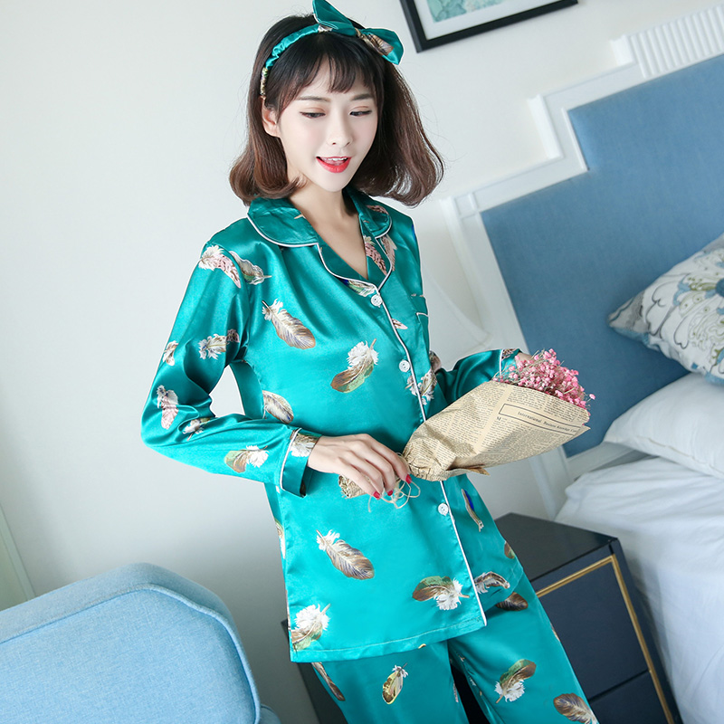 ผ้าไหมชุดนอนเซ็กซี่ผู้หญิงและผู้หญิงในชุดบ้านจำลองผ้าไหมแขนยาวคาร์ดิแกนแฟชั่นเกาหลีสี่ชุด