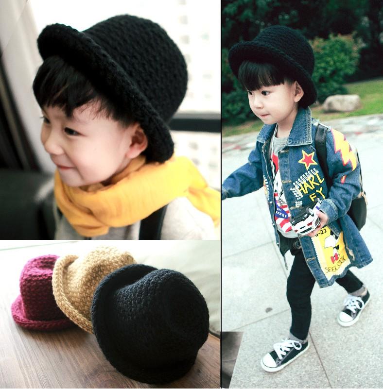 儿童帽子男童毛线帽 宝宝礼帽潮男宝手工针织保暖编织毛线帽