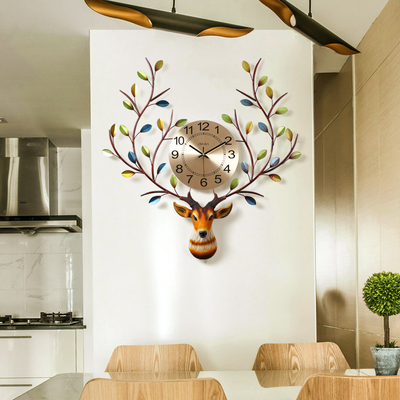 Wall Clock Northern European deer head clock living wall American style creative simple home clock