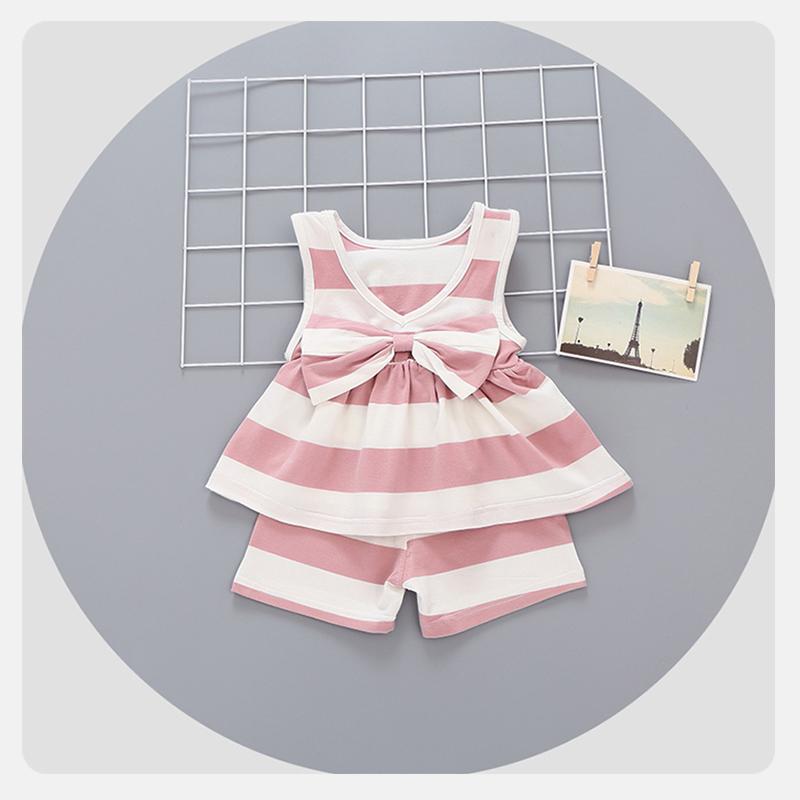 寬條紋套裝粉色