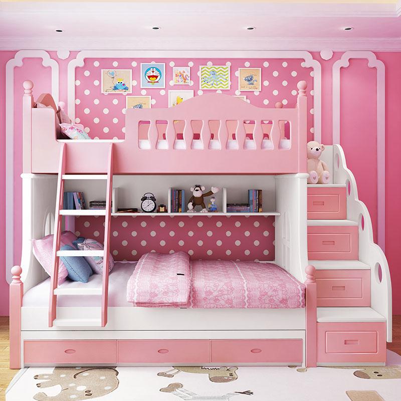 детская кровать двухъярусная кровать девушка роза принцесса кровать в постели деревянные ноги деревянные кровати высота постели многофункциональный комплекс кровати