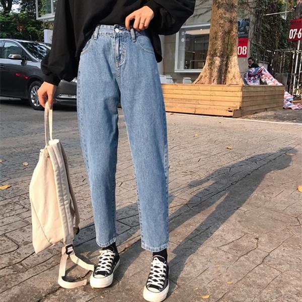 韓國ulzzang原宿風bf秋季韓版潮寬松百搭牛仔褲高腰九分直筒褲女