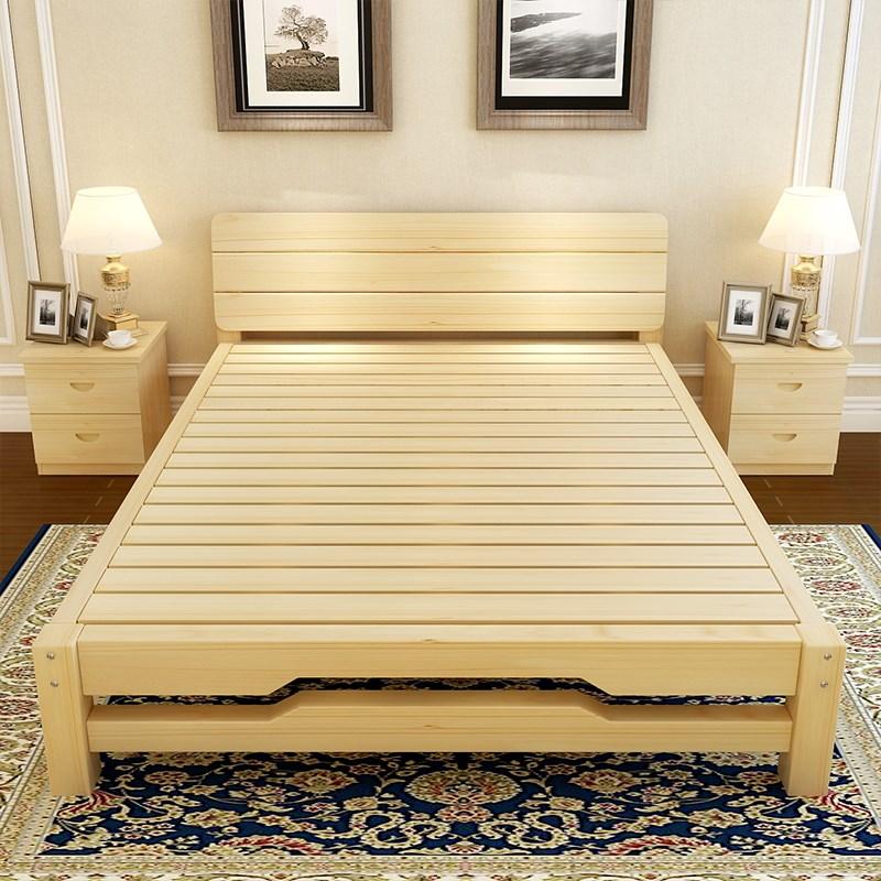 Solid wood bed meters 1.8 meters double bed single bed pine children bed 1 meters 1.2 meters 1.5 simple wooden mold