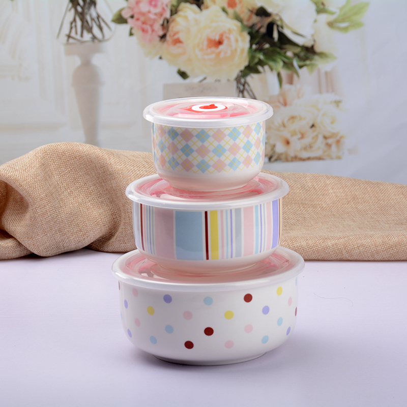 Cartoon ceramic lunch box lattice student commuters microwave heating lunch box with cover bowl separate shipping