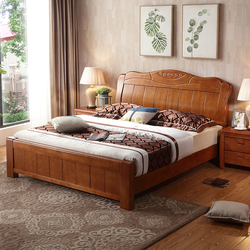 Solid wood bed, Chinese master bedroom, modern double bed, 1.8 meters, 1.5 meters, bed special price, high box bed, oak bed, marriage bed