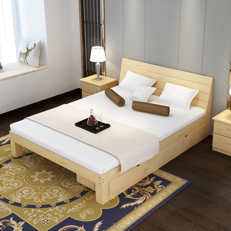 Bed frame double bed 1.8 meters, simple pine bed 1.5 meters, children's bed 1 meters, simple 1.2 meters, single bed solid wood bed