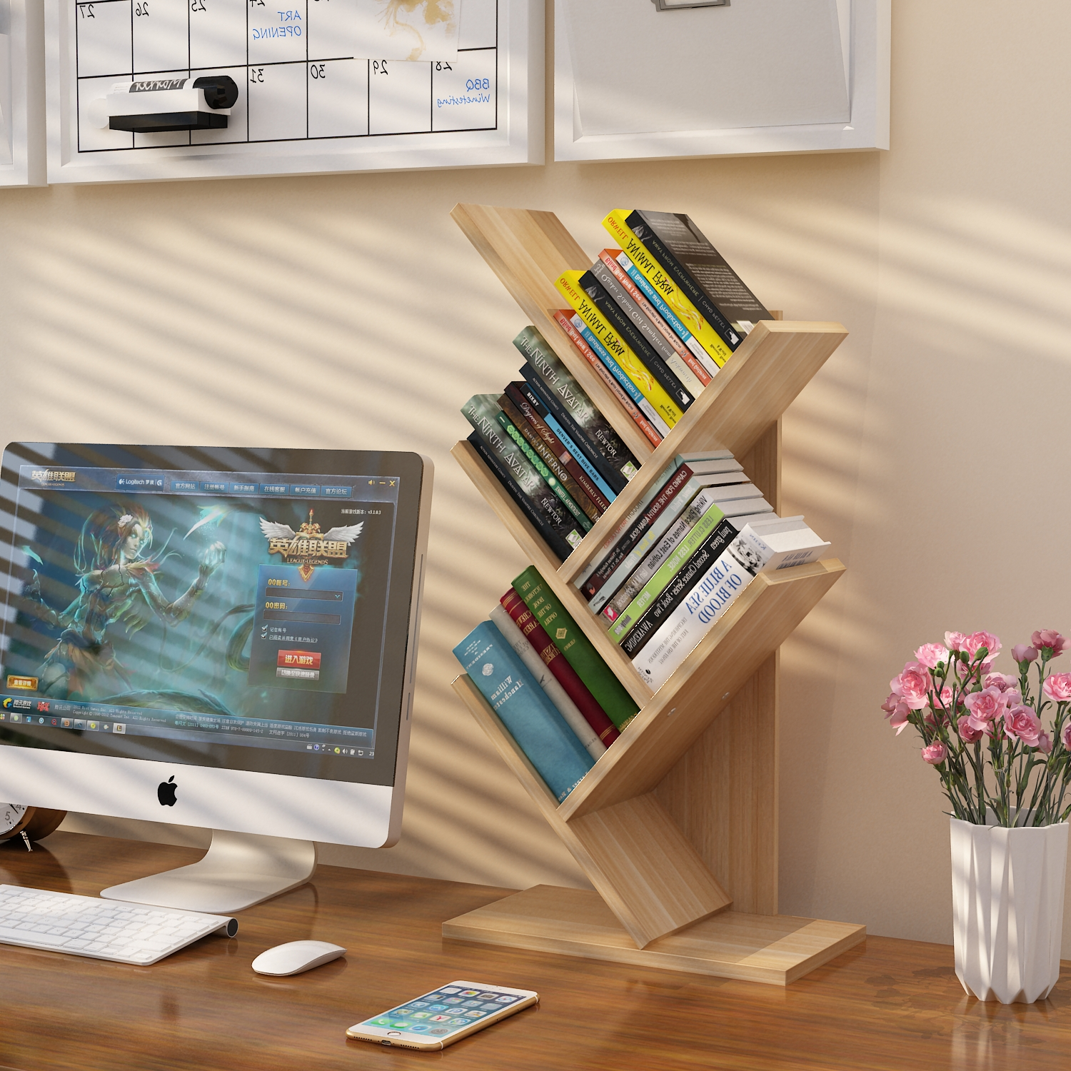 Creative corner combination bookshelf simple space home bookcase big art rotary Japanese + bedroom pupil
