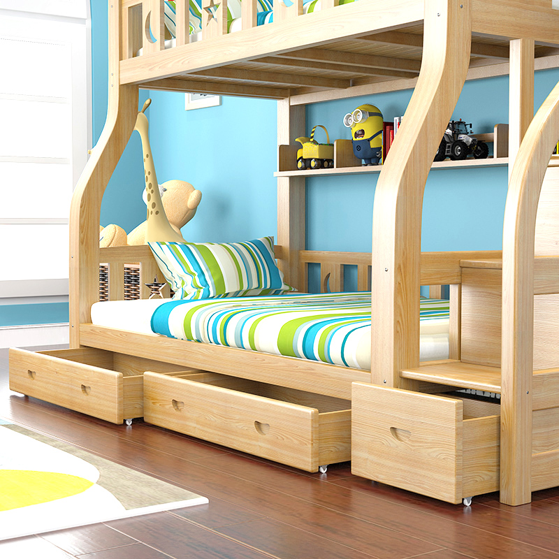 All solid wood bunk bed height adult children mother bed double bed mother on the bed bed dorm bed